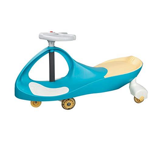 QqHAO Baby Twist Cars, Ruedas Universales de Music Silent Flashing, Coches de Swing Music, Kids Glide, Adultos Pueden Sentarse en Scooters Anti-Rollover,Azul
