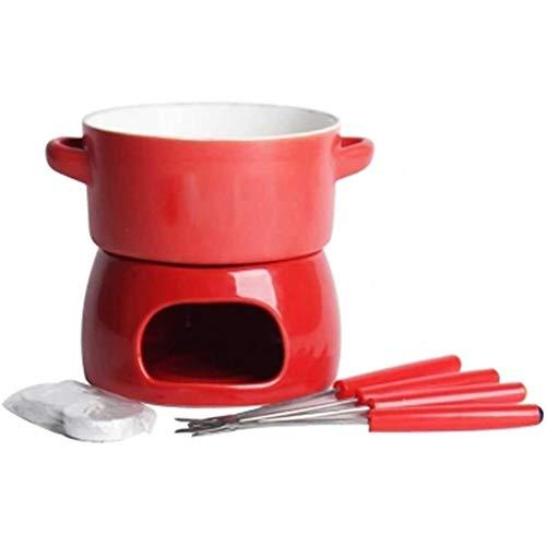 HELEN CURTAIN Redondo De Cerámica Chocolate Fundido Junto Pot Hielo DIY Hot Pot Queso Queso Suizo Hot Pot,Rojo