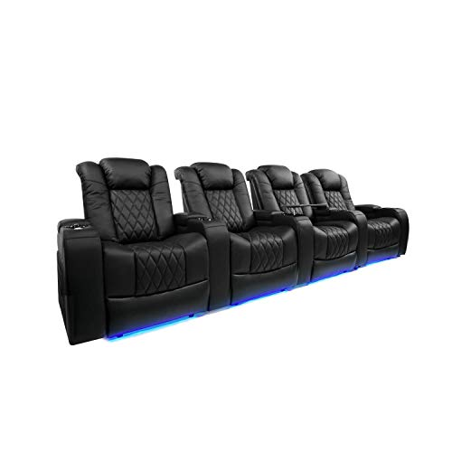 Valencia Tuscany Home Theater Seating | Top Grain Nappa Leather, Power Reclining, Power Lumbar Support, Power Headrest (Row of 4, Black)