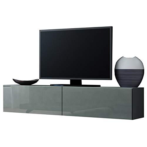 Jadella TV Board Lowboard Migo Hängeschrank Wohnwand (Grau Matt/Grau Hochglanz)