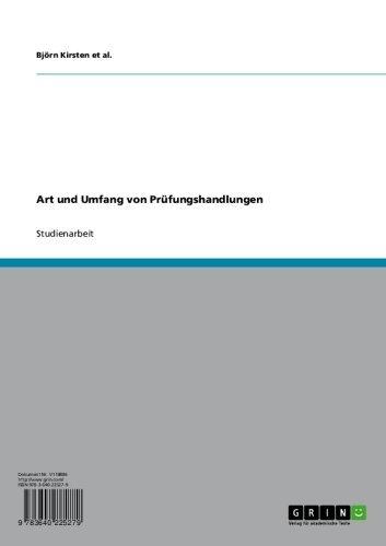 Art und Umfang von Prüfungshandlungen (German Edition)