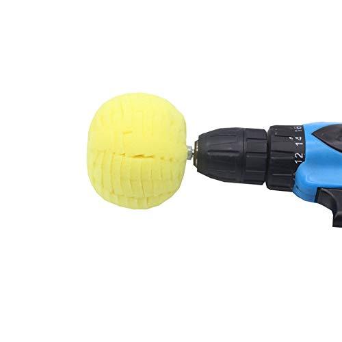 FLAMEER Schaum Polierball Polierkegel Polieraufsatz mit 6mm Schaft für Bohrmaschine - Gelb