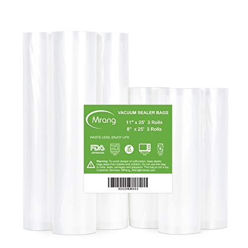 Vacuum Sealer Bags 11 x 25 3Rolls  8 x 25 3Rolls for Food Saver Seal a Meal Commercial Grade BPA Free Heavy Duty Great for vac storage Meal Prep or Sous Vide
