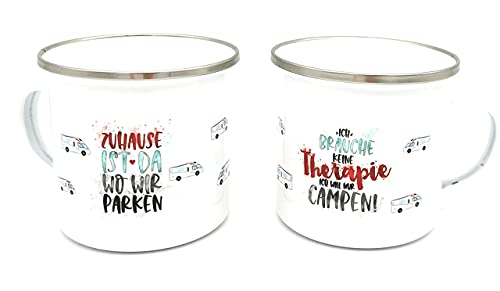 Emaille-Tasse mit Camper-Spruch und Wohnmobil oder Wohnwagen, auch mit Namen personalisiert. Prima Geschenk für Campingliebhaber. Ostergeschenk.