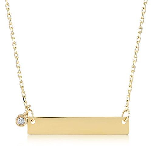 Gelin Damen Halskette aus 14 Karat / 585 Gelbgold mit Balken zum gravieren und 0.01 Ct. Diamant - Kettegröße 45cm