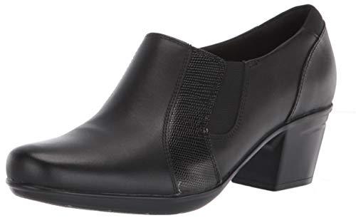 Clarks Women's Emslie Chelsea Loafer, Black Leather/Synthetic Lizard, 5M