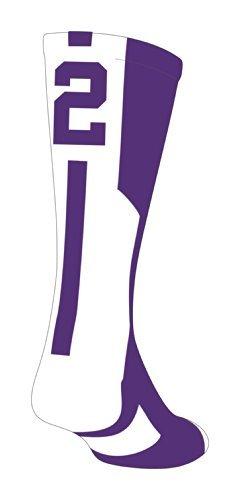 TCK Player Id Purple/White Number Crew Sock (#2 - Single Sock, Medium)