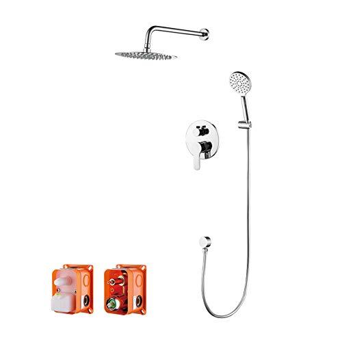 GRIFEMA G17103-PORTO, Columna de ducha empotrada(1/2 pulgada), Grifo de ducha empotrado monomando con ducha de mano de 3 funciones, manguera de ducha y soporte, Cromo
