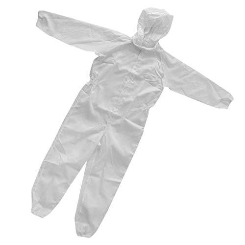 Tuta Sicurezza Riflettente Gilet Con Rivestimento Con Cerniera Lampo Antistatica Abbigliamenti Tessuto - Bianca