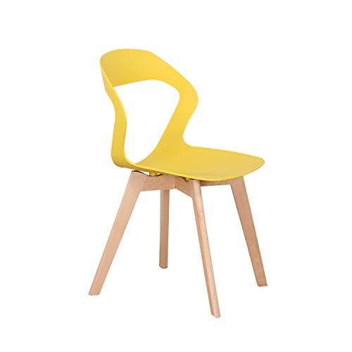 KunstDesign - Set di 4 sedie da pranzo con schienale cavo, in plastica, adatte per cucina, soggiorno, giardino, sedia per computer, caffetterie, colore: giallo