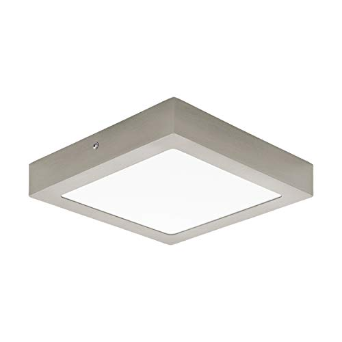 EGLO LED plafondlamp Fueva 1, 1 vlammige plafondlamp, materiaal: gegoten metaal, kunststof, kleur: nikkel mat, wit, L: 22,5x22,5 cm, neutraal wit