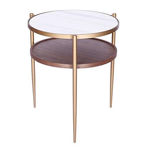 FENGFAN metalen ronde tafel, klinknagel moderne metalen bijzettafel,2 laag bergrack, koffietafel, wit/messing/walnoot, 46 * 54CM FF