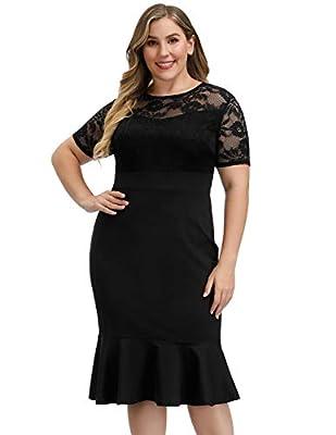 Hanna Nikole Women's Plus Size Lace Ruffle Bell Sleeves Business Cocktail Party Mermaid Sheath Dress