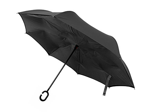 BetterBrella Windproof Double Layer Folding Inverted Umbrella, Upside-Down Rain Protection Car Reverse Umbrellas with C-Shaped Handle in Black As Seen On TV