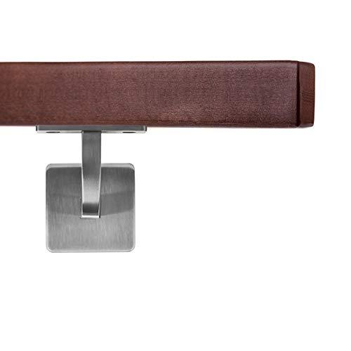 Corrimano in legno VKT 42 x 42 mm, corrimano da parete in legno di faggio trattato su supporto wengè, rettangolare, 200 cm, 2 supporti