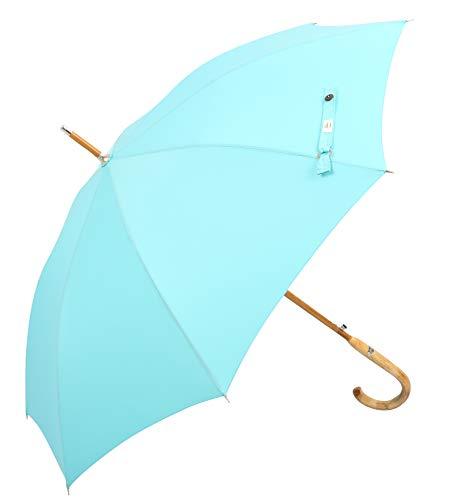 (Designed in Britain) Balios® Prestige Walking Stick Umbrella—Luxury Chestnut Wood Crook Handle—Bamboo Shaft—Windproof Fiberglass Frame—Auto Open 300T Finest Fabric (Aqua Blue)