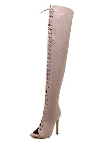 LXYYBFBD Women'S Boots, Mode Retro Super Hoge Hak Mode Vis Mond Over De Knielaarzen Straps Suede Women'S Boots Wild Single Boots Lente En Herfst Laarzen Vrouwen Laarzen Abrikoos