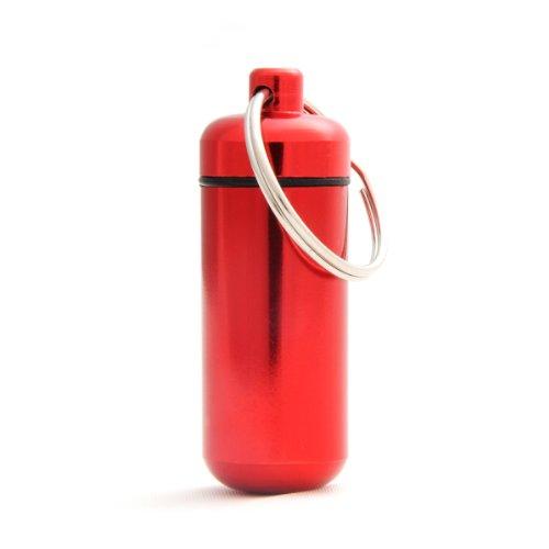 Capsule étanche pour conserver des petits objets (billets, clés usb), pilulier, capsule en porte-clé avec un capuchon dévissable et un joint en caoutchouc, hauteur: 45mm, matériau: aluminium, couleur: rouge, de la marque Ganzoo