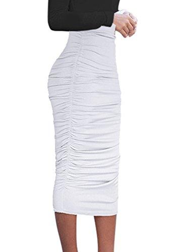 VFSHOW Womens Elegant Off-White Ruched Ruffle High Waist Casual Pencil Midi Mid-Calf Skirt 2817 WHT XS