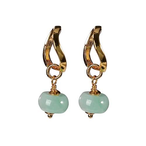 S925 plata esterlina chapado en oro esmeralda natural tímpanos personalidad retro temperamento barril perlas señoras pendientes,