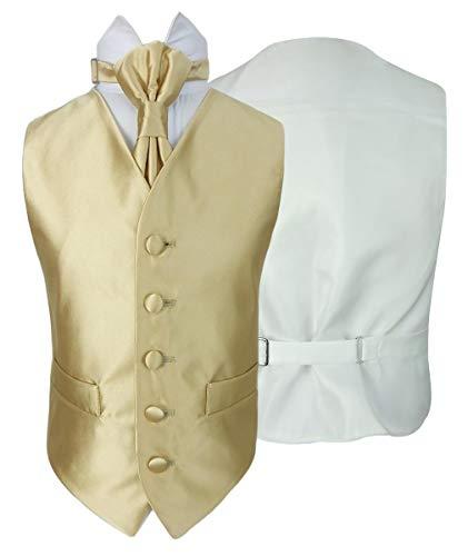 SIRRI Gilet da Sposa in Raso di Vianni e Cravatta Regolabile in Oro da 10 a 11 Anni per Ragazzo