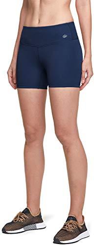 ATIKA Damen Fahrradshorts mit hoher Taille, Workout Running Yoga Shorts mit Tasche, Athletic Stretch Trainingsshorts, Mädchen, Einzigartige 10,2 cm Mid W (ys204) - Marineblau, Small