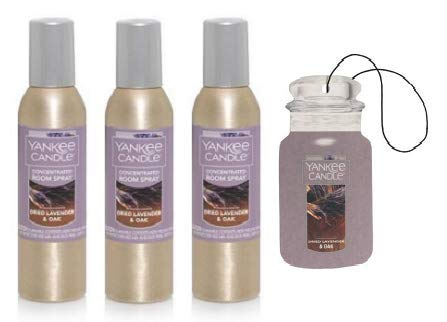 Yankee Candle Dried Lavender and Oak Concentrated Room Spray 1.5 Oz. (Pack of 3). Car Jar Paperboard Included.
