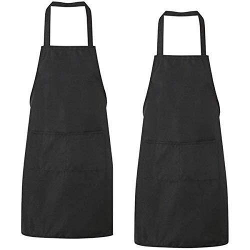 Lot de 2 tabliers de cuisine avec 2 poches étanches pour cuisine, restaurant, pâtisserie, noir