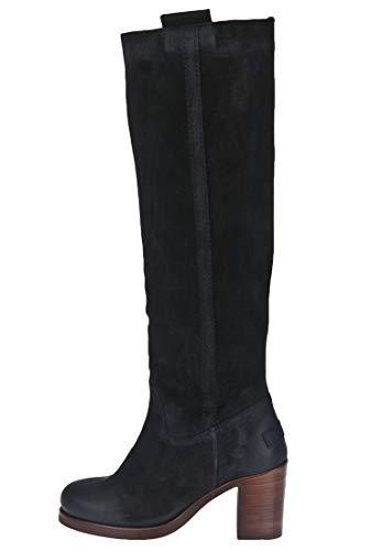 Shabbies Amsterdam Damen Stiefel Hochschaft aus Veloursleder Emblem