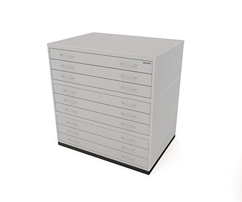 Traditionele A1 9 ladeplan borst grijs papier opbergkast met negen lades geschikt voor het houden van A1 formaat papier