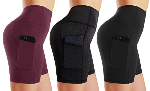 High Waist Out Pocket Yoga Short Tummy Control Workout Running Athletic Non See-Through Active Shorts (M, 3 Pack Black/Dark Grey/Wine Red)