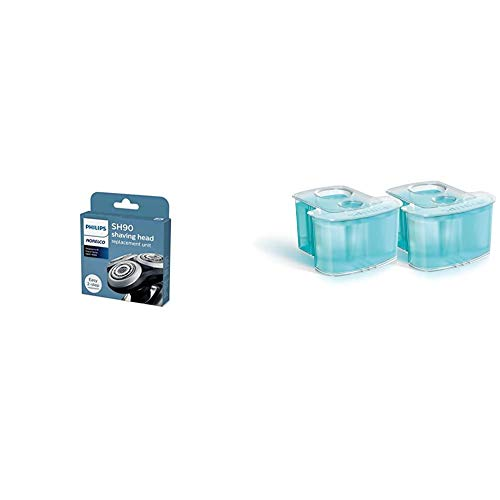 Philips Norelco SH90/72 Replacement Heads New Version for Series 9000 (Replaces SH90/62) & Norelco SmartClean Cartridge-2 ct