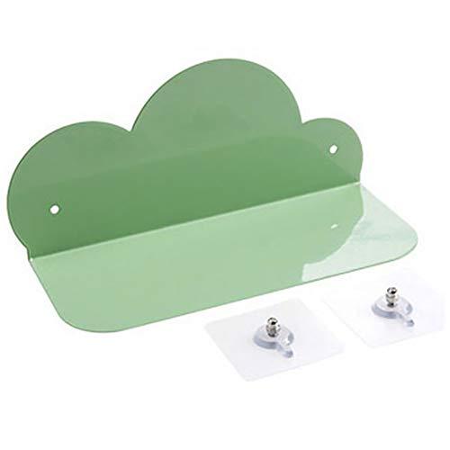 Estante de pared de hierro forjado, nube, para salón, dormitorio, pared de cocina, no perforado, estante de almacenamiento de metal Tamaño libre verde