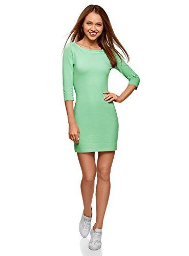 oodji Ultra Damen Baumwoll-Kleid Basic, Grün, DE 38 / EU 40 / M