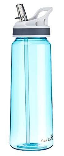 AceCamp TRITAN Trinkflasche   Wasserflasche auslaufsicher BPA-Frei   Sportflasche Trinkhalm I 750 ml I Blau, 15556