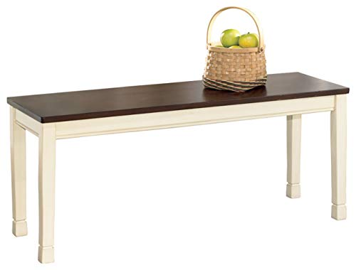 Signature Design by Ashley - Whitesburg Large Dining Room Bench - Casual Style - Brown/Cottage White