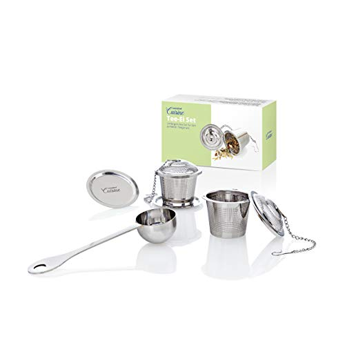 Lumaland Cuisine 2 Filtros de Té e infusiones con Cuchara en Acero Inoxidable para Todo Tipo de Vasos, Tazas y teteras