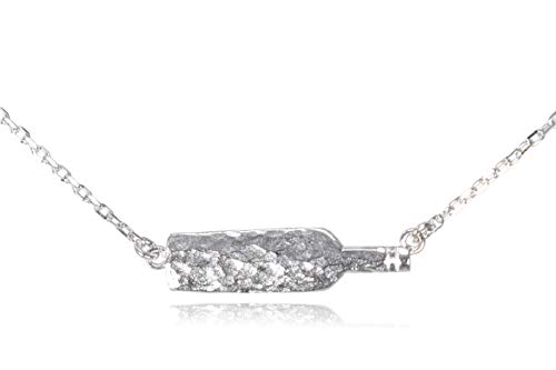 Dote Wine Bottle Dainty Pendant Genuine .925 Sterling Silver Hammered Necklace w/16-18 Adjustable Chain