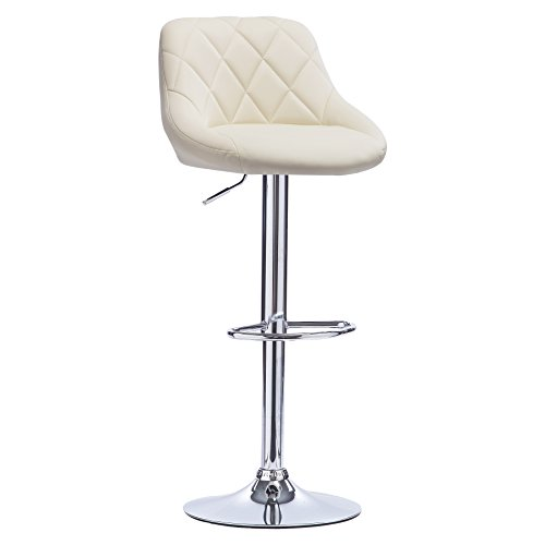 WOLTU Bar Stool Cream Bar Chair Breakfast Dining Stool Chair for Kitchen Island Counter Leatherette Exterior, Adjustable Swivel Gas Lift, Steel Footrest & Base