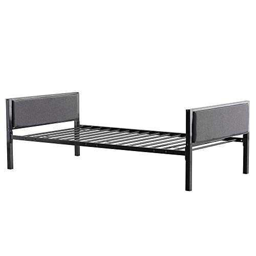 Bed Frame, Simple Dark Gray Soft Cover Daybed Black Twin (US Stock)