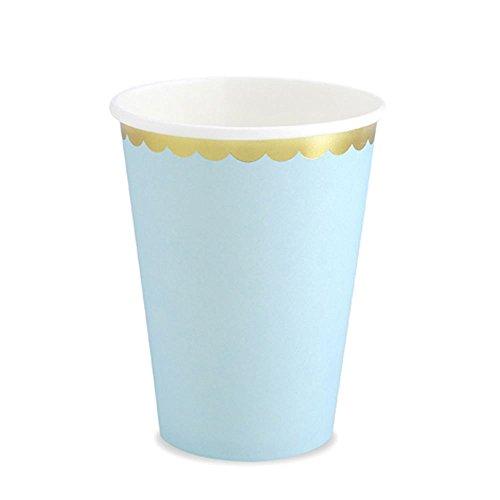 Party Deco Lot de 6 gobelets en Papier Bleu Ciel avec Bords dorés, Bleu Clair