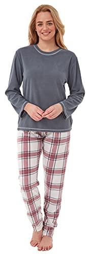 Conjunto de pijama de forro polar para mujer para inviernos gélidos. Negro estampado animal 42-44