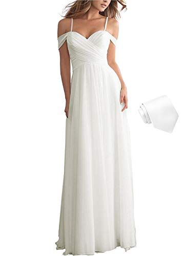 Women's Wedding Bridesmaid Dresses Off The Shoulder Long Maxi Formal Evening Dress Ivory