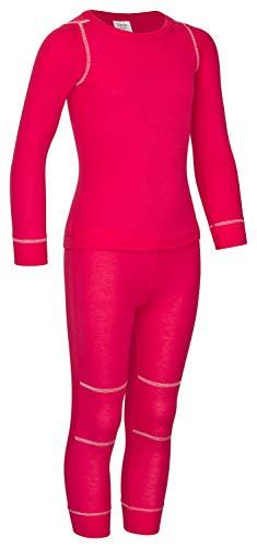 icefeld® - atmungsaktives Thermo-Unterwäsche Set für Kinder - warme Wäsche aus langärmligem Oberteil + Langer Unterhose (ÖkoTex100) in blau oder pink (134/140, pink_)