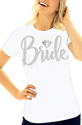 Bride Shirt - Rhinestone Diamond Bride T-Shirt - Wedding, Engagement & Bachelorette Party Tee Shirt - X-Large - White Tee(DiamBrd RS) Wht/XL