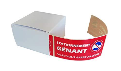 250 étiquettes STATIONNEMENT GENANT - pour véhicule mal garé - Format 50 x 100 mm - Stickers autocollant en rouleau