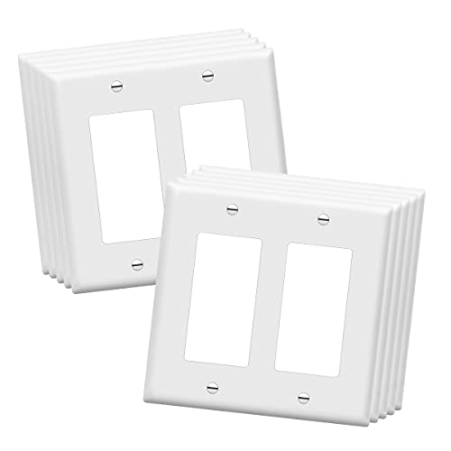 ENERLITES Decorator Light Switch or Receptacle Outlet Wall Plate, Size 2-Gang 4.50' x 4.57', Polycarbonate Thermoplastic, 8832-W-10PCS, White (10 Pack)