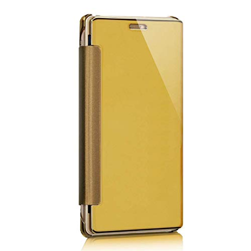 kompatibel mit Galaxy A5 2017 Hülle,Galaxy A5 2017 Lederhülle,Überzug Mirror Strass Spiegel Hülle Galaxy A5 2017 Tasche Leder Flip Cover Brieftasche Etui Schutzhülle für Galaxy A5 2017 (Gold)