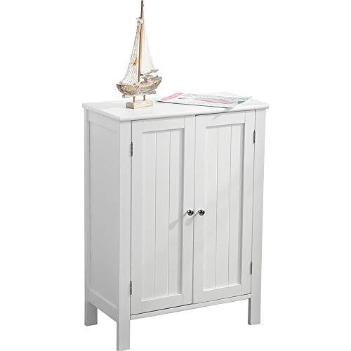 Armario de baño multiusos, mueble de baño, recibidor, dormitorio, salón, mueble de suelo, dos puertas de madera MDF 58 x 28 x 80 cm. Color blanco. Mueble de baño para ahorrar espacio Slim