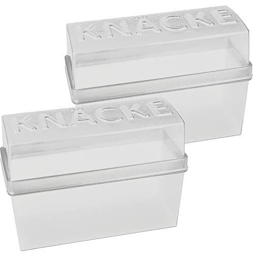 com-four® 2x Knäckebrot Dosen mit Deckel - Vorratsdose für Knäckebrot - Luftdichte Aufbewahrungsboxen, ca. 20 x 9 x 14 cm (weiß)